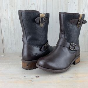 UGG CHANEY LEATHER  SHEEPSKIN LINED MOTO   BOOTS